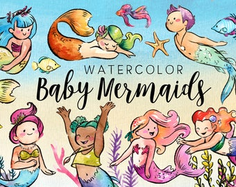 Watercolor Baby Mermaids Clipart Set - High Res, PNG, Cute Bubble Guppies, For Baby Showers and Nurseries