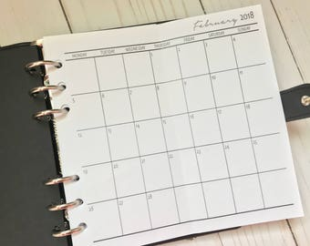 Months On One Page | Fold Out Personal Planner Inserts | MO1P