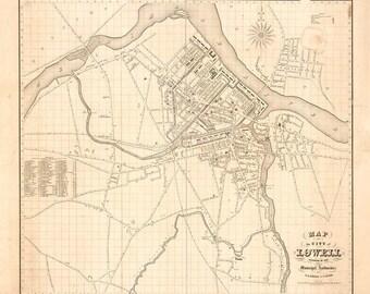 1841 Map of Lowell Massachusetts