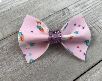 Unicorn Bow  Nylon Headband  Hair Clip