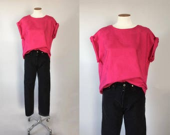 Vintage 1980s hot pink brocade boxy oversized dolman top / 80s 90s blouse / small S medium M large L one size