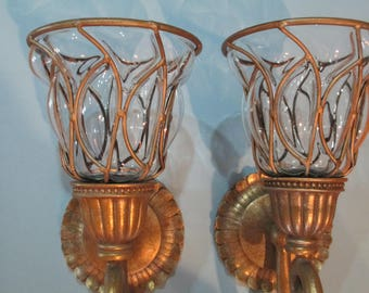 LEADED GLASS SCONCES 1 pair