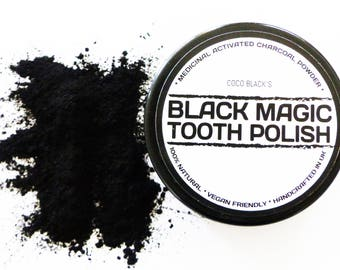 50ml Black Magic Charcoal Powder Tooth Polish * 100% Organic Tooth Cleaner* *Coconut Activated Charcoal Powder * REAL CUSTOMER RESULTS