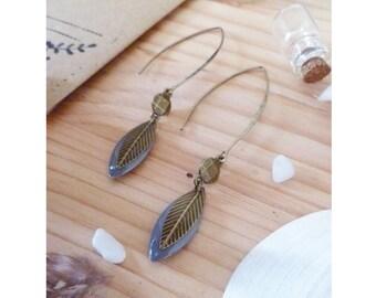 TITUO ▷ earrings fancy bronze leaf & petal grey glaze.