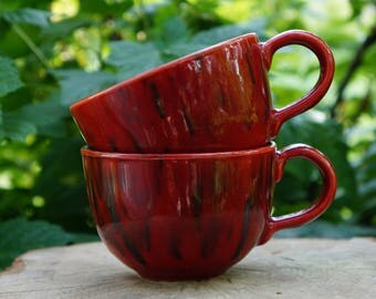 Gift|for|husband birthday gift|for|sister mug set of 2 Ceramic tea cup set Red clay mug ceramic Bday gifts Christmas gifts|for|newlyweds