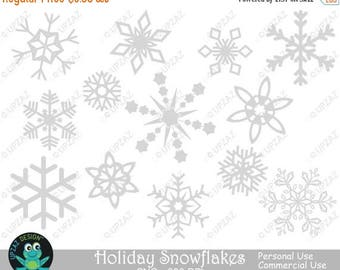 75% OFF SALE Gray Snowflake Clipart, Commercial Use - UZ830
