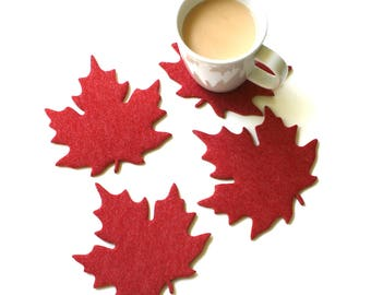 Maple Leaf Drink Coasters in 4mm Thick Vegan Friendly Felt Nature Inspired Fun Absorbent Thirsty Coaster Set