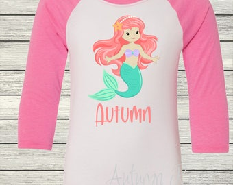 Girls Mermaid Personalized Birthday Shirt Customized
