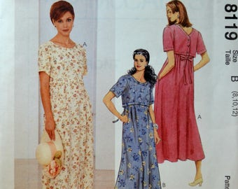 Uncut 1990s McCall's Vintage Sewing Pattern 8119, Size 8-10-12; Misses' Dress