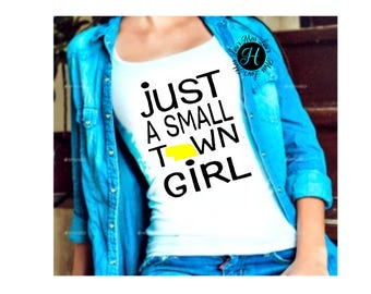 Just a small town girl Nebraska Distressed SVG Cut file, t shirt cricut, cameo, state svg, commercial license, Nebraska svg, home town svg