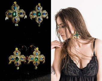 Baroque Cross Dolce Earrings Chandelier Gold Earrings Large Corss Swarovski Earrings Green Blue Red Womens Gift Byzantine Earrings Dangle