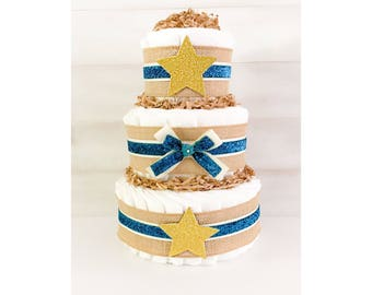 Diaper Cake - Twinkle Twinkle Diaper Cake - Diaper Cake For Boy - Twinkle Twinkle Baby Shower Decor - Twinkle Twinkle Baby Gift