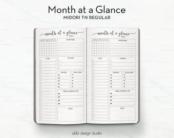 Month at a Glance, Midori TN Regular, Monthly Planner, Midori Inserts, To Do List, Travelers Notebook, Midori Refill, Bullet Journal