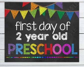 First day of 2 year preschool sign - Chalkboard Sign First Day of Preschool Instant Download - Sign School Printables #DPIFDP222