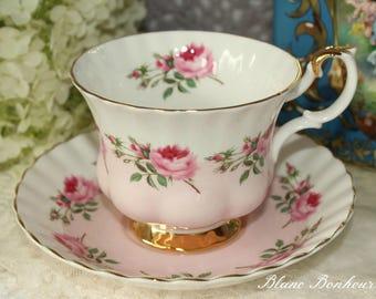 Royal Albert, England: ''Bridesmaid'' pink tea cup & saucer with pink roses