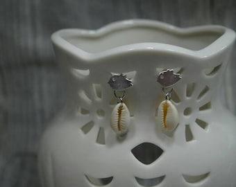 Bird earrings with shells