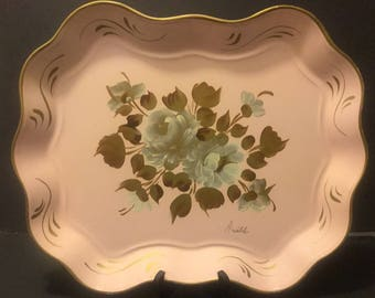 Metal Hand Painted French Country Tray,Artists signed Metal Tray by Nashco Of New York,Toleware.Scalloped edges Metal Tray,American