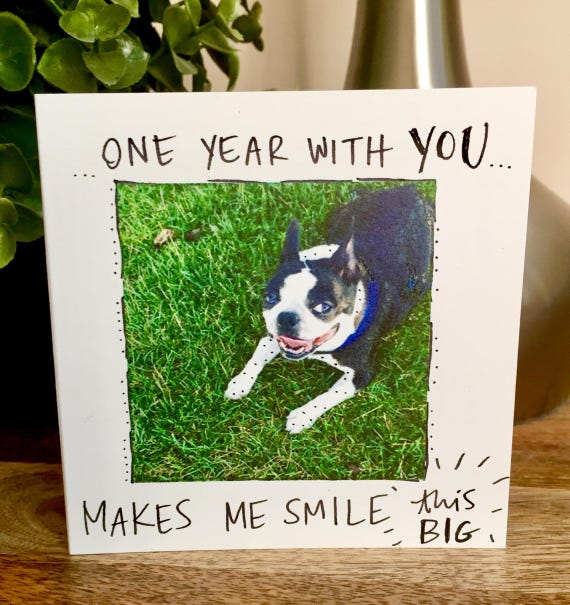 1st anniversary, 1 year anniversary card, one year anniversay card, anniversary card for wife, anniversary card for him, Smile So Big