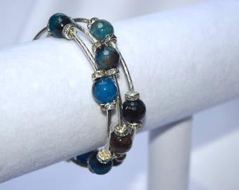 Gemstone Wrap Bracelet with Bling