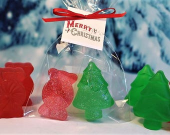 Christmas Soaps (5+), Christmas Favors, Holiday Favors, Children's Christmas Soap, Stocking Stuffers, Candy Soaps, Christmas Tree Soaps