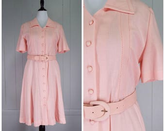 Vintage Womens Pastel Pink Belted Linen Texture Short Sleeve Shirtwaist Dress | Size L