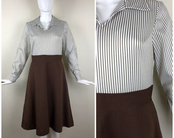 Vintage Womens 1970s Brown and Brown & White Stripe Long Sleeve Dress with Wide Collar | Size S/M