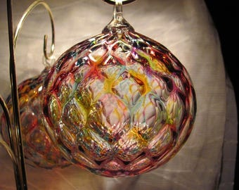 Hand Blown Glass Ornament / Beautiful Jewel Tone Transparent Glass / 18 dollars / Nice for a window or tree!