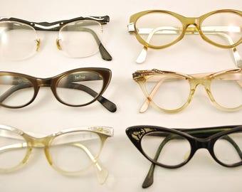 SET of 6 Vintage CAT EYE Eyeglasses (lot 150)