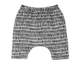 harem shorts, black and white harem shorts, shorts, black shorts, gender neutral shorts, hipster baby shorts