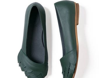 Green leather shoes, Leather shoes, Handmade shoes, Ballet flats, Women's shoes, Leather flats, Green flats, Women flats