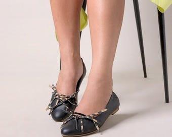 Black shoes, Black flats, Black leather shoes, Women's Shoes, Leopard shoes,  Handmade leather flats by LoulouBallerina