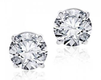 1.07 cttw Round Brilliant Diamond Screw Back Studs F-G/VS2 14K White Gold