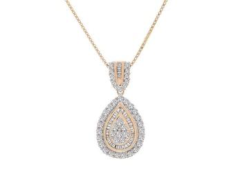 0.90 Carat Baguette & Round Cut Diamond Drop Pendant Necklace 14K Yellow Gold