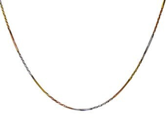 Twisted Snake Link Chain 18K Tri-Color Gold Over Silver 20""