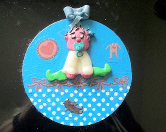 Bedroom-deco door sign-plate baby room-cd recycled-acrylic paint character clay fimo-article handmade