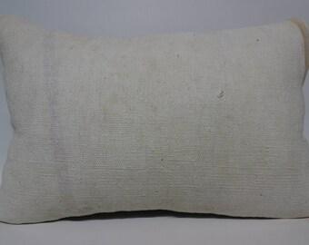 Decorative Kilim Pillow Cushion Cover White Kilim Pillow 16x24 Handwoven Kilim Pillow Sofa Pillow Lumbar Kilim Pillow  SP4060-1129