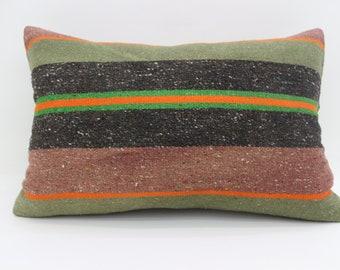 16x24 Kilim Pillow Bohemian Pillow Sofa Pillow 16x24 Red and Green Pillow Striped Pillow Throw Pillow Cushion Cover SP4060-1296