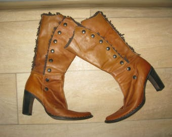 Cafe Noir Real Leather Brown Boots