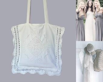 Bag Tote Bag for women Boho Crochet and Vintage cream white lace Bohemian