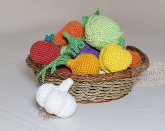 Crochet vegetables Eco-friendly Amigurumi vegetables Garlic Play food Educational Soft toy Crochet Fake Cotton Educational toy Toddler gift