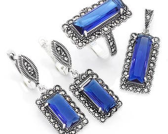 Jewelry Set, 925 Sterling Silver Marcasite Set
