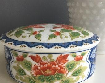 Vintage blue and orange covered trinket dish
