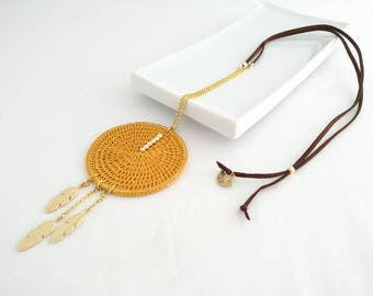 Valentines day gift for her, Ocher long necklace with pendant, long necklace with leaf pendant, Boho long necklace, Bohemian present