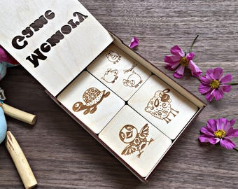 Wooden Memory game, Animal Pictures, Family game, Game for kids, Animal theme, Board games, Engraved Wood Tile Game