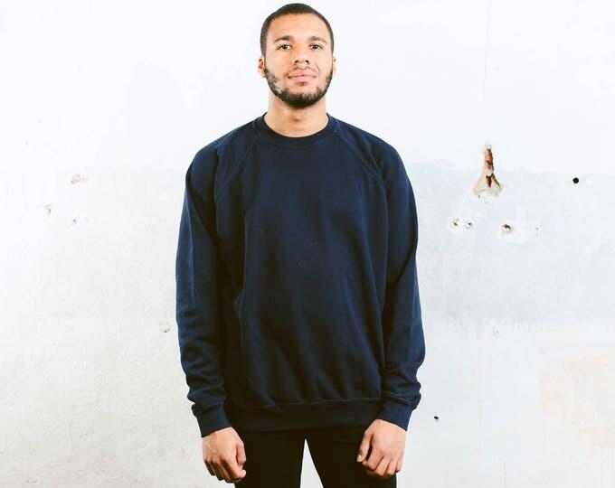 Plain Blue Sweatshirt . Crew Neck Sweater Men's Vintage 90s Sports Sweatshirt Unisex Oversized Blue Sweatshirt Boyfriend Gift . size XXL