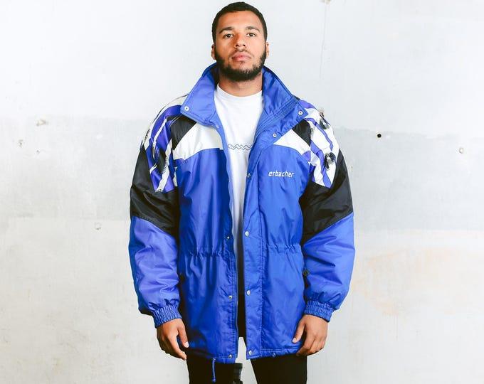 90s Blue Winter Jacket . Men's Insulated Puffer Coat Outerwear Oversized Ski Jacket Mens Winter Wear Freestyle Puffa Jacket . size XXL
