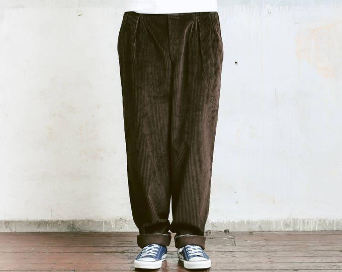 Vintage Corduroy Trousers . Brown Mans Cord Pants Ankle Pants Nerd Pants Boyfriend Gift Hipster Pants . size Large L