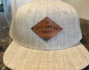 Hat with custom leather patch (Any logo)