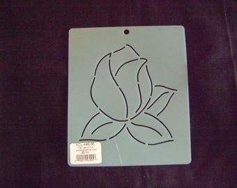 Sashiko Japanese Embroidery Stencil 5 in. Rose Bud Motif Block/Quilting
