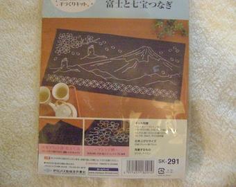 Sashiko Mt. Fuji Table Runner Kit with Needle/Threads/Instructions/Thimble